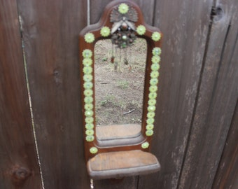 Vintage Wooden Mirror with Stand Decorated with Birds, Pearls and Greens