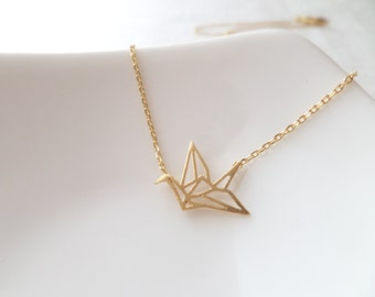Gold, Rose Gold or Silver  origami crane necklace...dainty necklace, everyday, simple, birthday gift