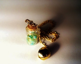 Tinkerbell  Vial Necklace - Disney Peter Pan Pixi Fairy Inspired - Handmade Corked Glass Bottle - Gold Bell Charm