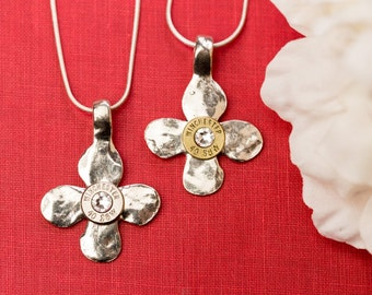 Bullet Casing Jewelry - Small Hammered Cross Bullet Necklace (40)