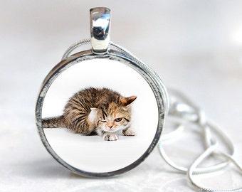 Cat Pendant - kitten necklace, cat necklace, cat jewellery, feline gift for cat lover, gift for her, cat lover gift, tabby cat