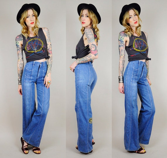 1970's XS seamed HIGH Waist WRANGLER Bellbottom Jeans