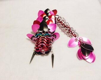 Pink Black Punk Chainmaille Dragon Brooch/Bracelet/Pendant