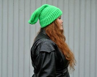 Hand knitted Neon Fluorescent Green Beanie Hat