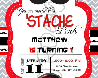 Mustache Bash Invitation-Stash Bash Invitation- DIY-Printable- Can change red color to any other