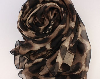 Animal Print Silk scarf - Brown Silk Chiffon Scarf with Large Leopard Print - Leopard Print Silk Scarf - AS40