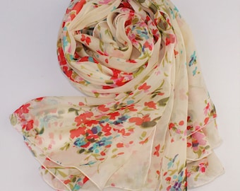 Ivory Silk Scarf with Pastoral Floral Print - Pastoral Silk Chiffon Scarf - AS73