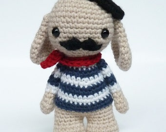 Amigurumi bunny doll - Stuffed animal - Stuffed toy - bunny amigurumi - bunny softie - moustache - Monsieur Moustache