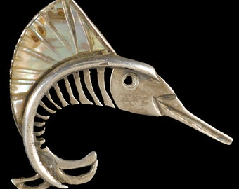 Vintage Swordfish Pin, silver and abalone