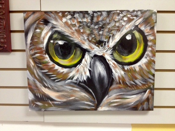 Items similar to acrylic owl close up painting by ed bell for Night owl paint color