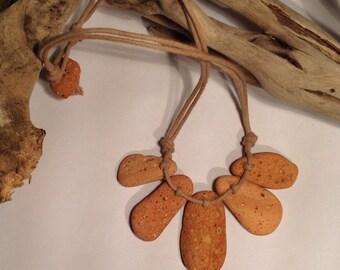 Beach Pottery Necklace, 5 Piece Terracotta