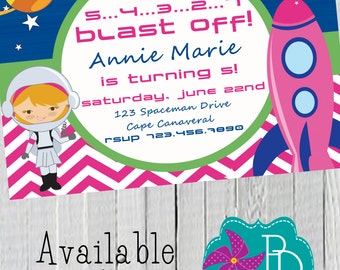 Space Girl Birthday Invitation Printable- 4x6 or 5x7