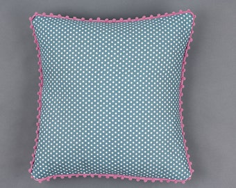 Turquoise Polka Dot Pillow With Pink Pom Pom Trim