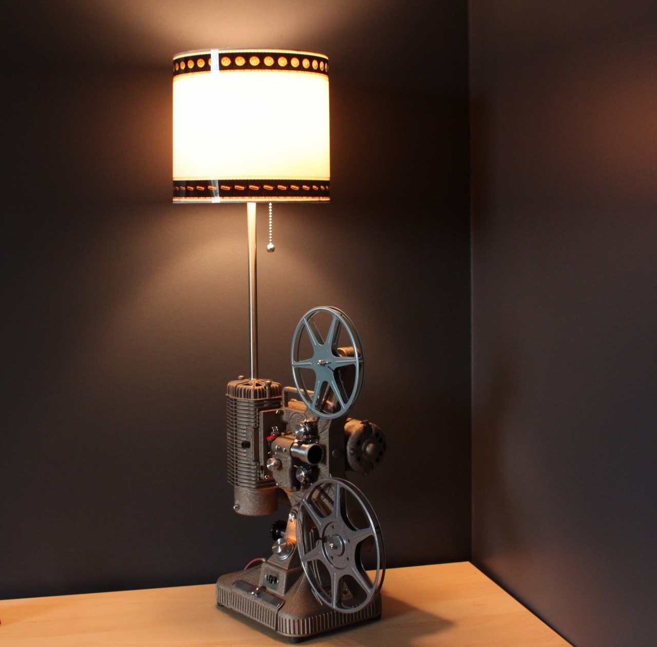 Home theater decor 35mm film lamp shade option for movie for Home decorators lamps