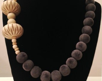 Modern Asymmetrical Gray and Cream Statement Necklace