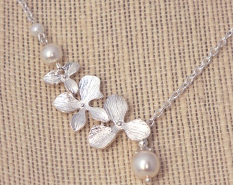 Silver orchid flower and pearl asymmetrical necklace No. N109