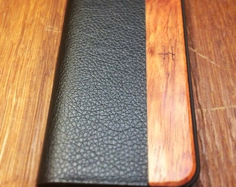 iPhone 5/5s Vintage Black Leather with Rosewood Case