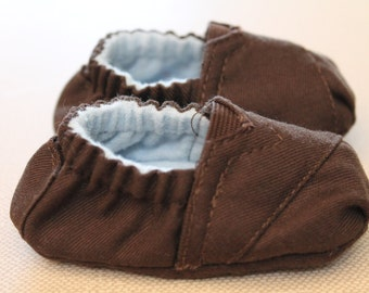 Brown TOMS inspired baby shoes booties with blue flannel lining