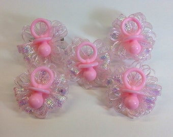 10 Pink Pacifier Baby Shower Guest Pins