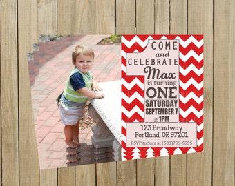 Trendy Red Chevron One First Birthday Invitation, Printable, Custom Digital File