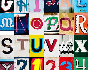 California, Buellton, CA,  Alphabet Collage, Vintage Style Art, Photographic Print, Kristine Cramer Photography