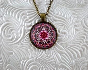 Kaleidoscope klower pendant necklace, pink pendant necklace