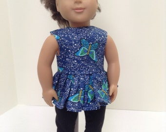 "Blue Butterfly Summer Set   - Fits 18"" American Girl Doll and all other 18"" Dolls"