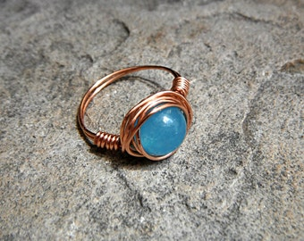 Blue Apatite Ring, Copper Ring, Blue Stone Ring, Wire Wrapped Ring, Blue Ring, Wire Wrapped Jewelry Handmade, Gemstone Ring, Chunky Ring