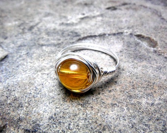 Butterscotch Amber Ring, Wire Wrapped Ring, Brown Ring, Chunky Ring, Wire Wrapped Jewelry Handmade, Gemstone Ring