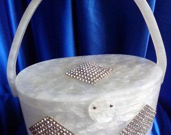 Vintage Rare Wilardy White PearlizedThree Diamond Squares of Rhinestones Adorned this Lucite Purse - STUNNING B30