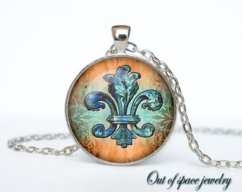 Fleur de lis jewelry Fleur de lis necklace Fleur de lis pendant heraldy jewelry