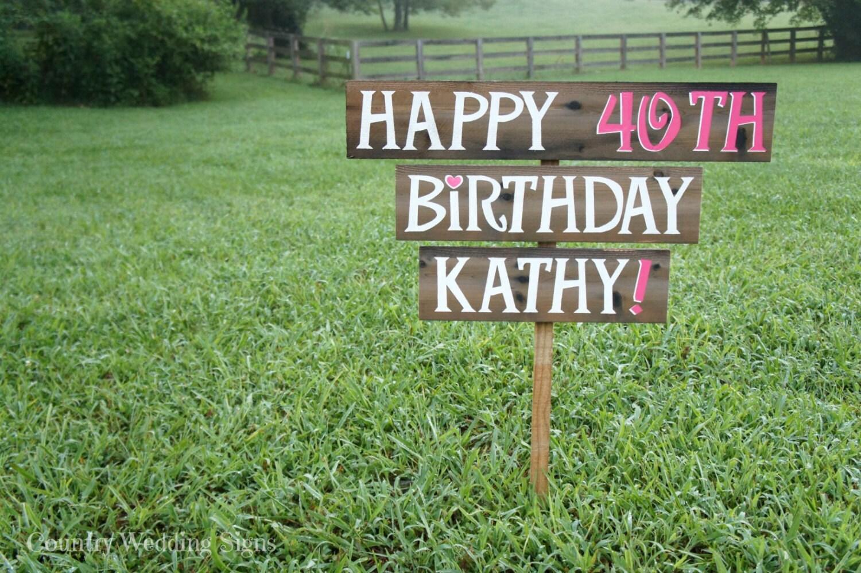 Happy birthday party wood yard sign happy birthday sign for Happy birthday yard letters