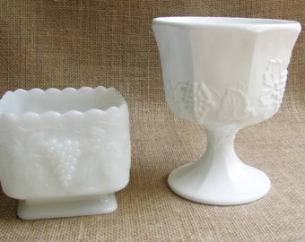Milk Glass (Fenton Glass) Planter and Milk Glass Planter