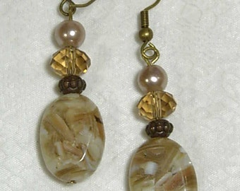 """Cynthia Lynn """"TIMELESS"""" Vintage Bronze Mother of Pearl Golden Crystal Earrings 2.25"""""""