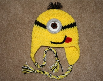 Crochet Minion inspired hat with braids. Handmade.