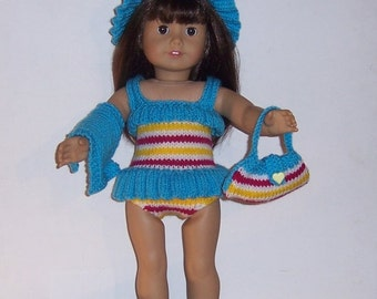 American Girl Dolls Clothes PDF knitting pattern for 18 to 19 inch dolls,  also fits Gotz, Our Geration & similar size dolls. Bathing Belle