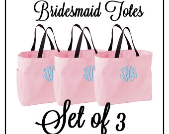 Monogrammed Bridesmaid Tote Bags - Set of 3 - Mix and Match Colors