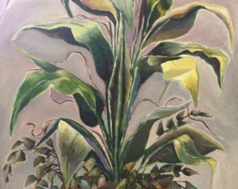 Contemporary, Still Life, Green painting, Green Art, Plant life, Title: Kathryn's Plant