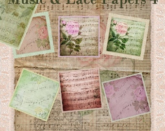 Music & Lace Papers 4 - Digital Scrapbooking Clipart Graphics Background Papers