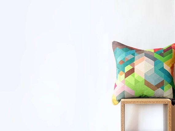 "Khaki Geometric Pillow Cover with Lime Green, Teal, Brown, Gray, Pink Chevrons -  45cm Cushion - 18""x18"" Cushion Cover"