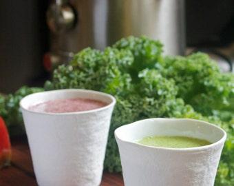 Set of 2 Porcelain Peat Pot Juice Cup