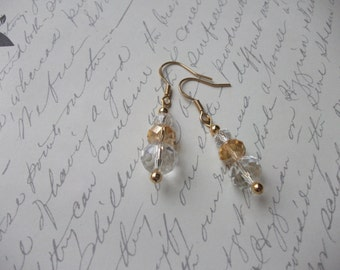 Gold and clear crystal bling earrings