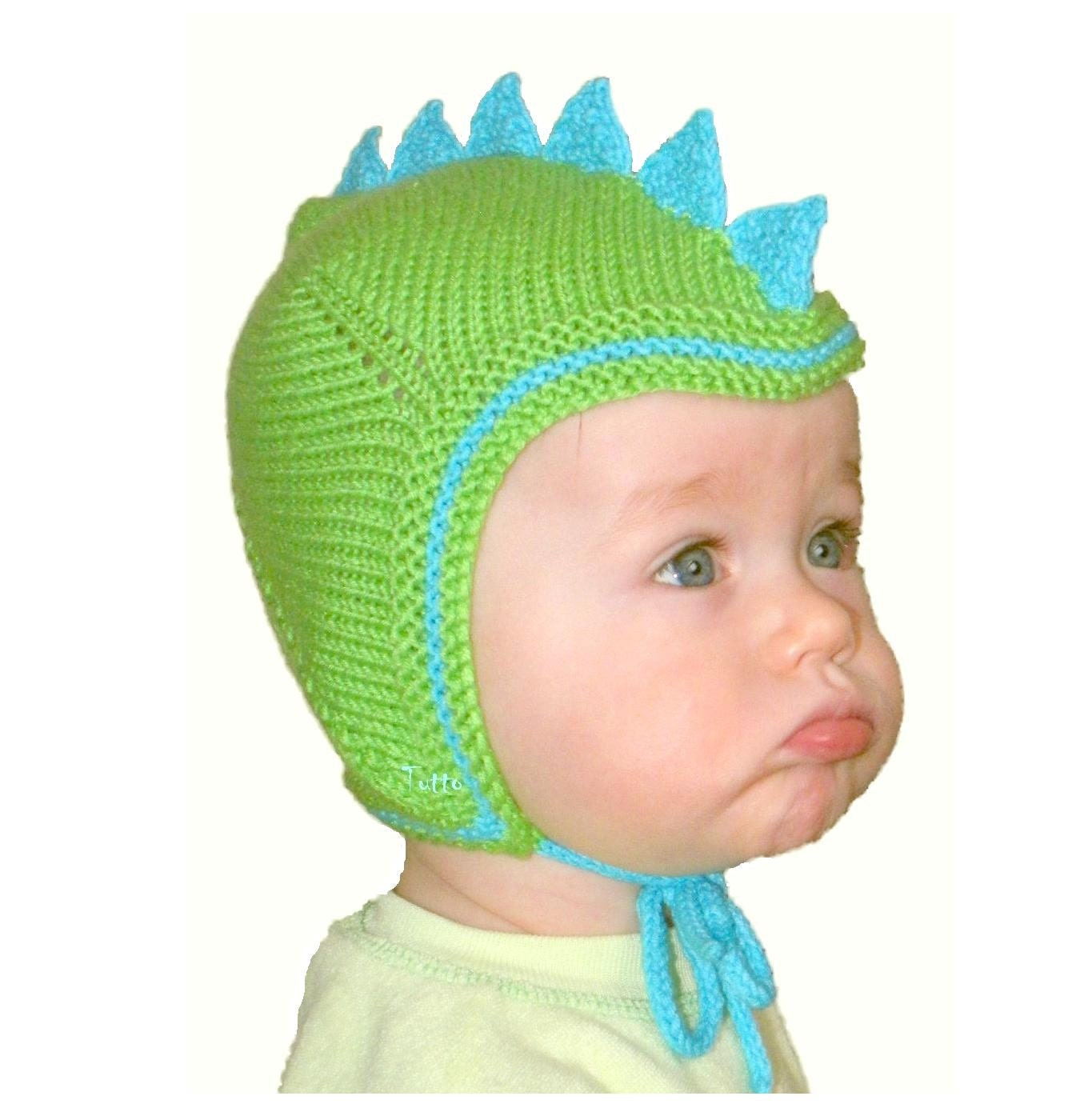 Bright green baby hat knit dinosaur hat knitted toddler hat