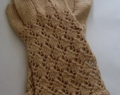 Vintage knitted gloves, size7 approx 1950,Beige.