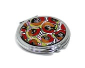 Retro poppy tortoise shell pattern handmade polymer clay veneer mirror compact. Red orange green white black silver fuschia cane - PolyClayCafe