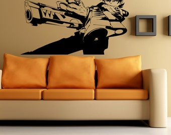 serious evil guy with guns anime housewares wall vinyl decal art design murals modern interior decor - Wall Art Design Decals