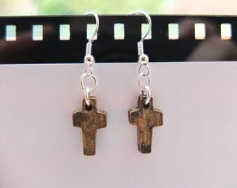 Gold-toned Cross Earrings - Silver Plated & Handmade
