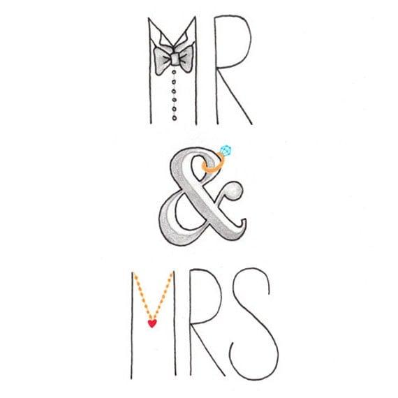 Wedding Card Mr amp Mrs Illustration Congratulations By