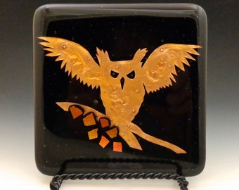 Winged Owl, Art Glass Wall Tile, Fused Glass, Copper - kiln-formed, handmade