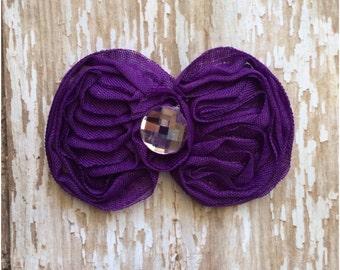 Purple Shabby Bow Hair Clip, Purple Barrette, Girls Alligator Clip, Headband Clip, Hair Bow, Flower Girl Accessory, Hair Clip, Girls